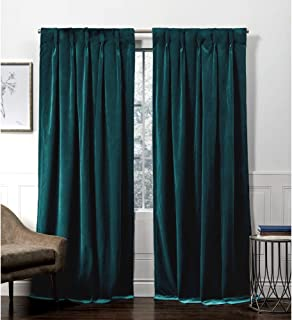 Exclusive Home Curtains Velvet Hidden Tab Top Curtain Panel, 52x96, Teal, 2 Panels
