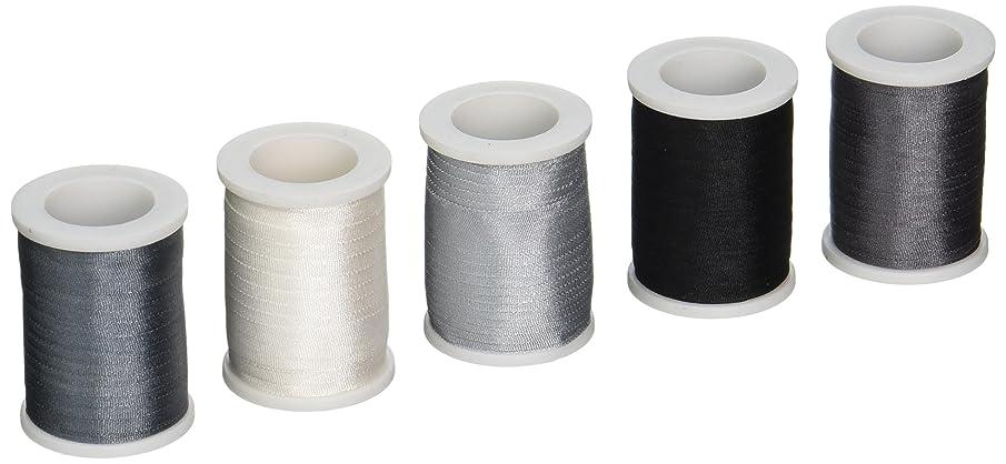 Grey Silk Ribbons 100% Pure - 7mm Wide 5 Spools Grey Tones - 55 yards