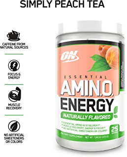 OPTIMUM NUTRITION Naturally Flavored ESSENTIAL AMINO ENERGY, Simply Peach Tea, Keto Friendly Preworkout and Essential Amino Acids with Green Tea and Green Coffee Extract, 7.94 Ounce (Pack of 1)