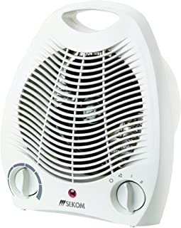 Sekom SO209 - Calefactor (Calentador de ventilador, Piso, Mesa, Blanco, Giratorio, 2000 W, 1000 W)