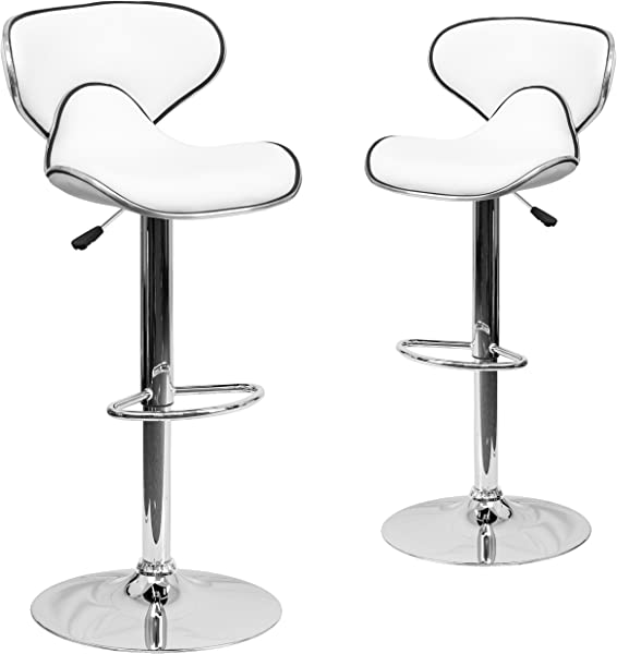 Flash Furniture 2 Pk Contemporary Cozy Mid Back White Vinyl Adjustable Height Barstool With Chrome Base