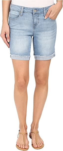 Corine Rolled Denim Shorts with Fringe Hem in Belmont Beach Blue