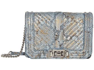 Rebecca Minkoff Chevron Quilted Small Love Crossbody (Cement Blue Multi) Cross Body Handbags