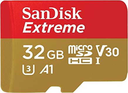 SanDisk Extreme 32 GB microSDHC Memory Card, SD Adapter with A1 App Performance, Rescue Pro Deluxe, Up to 100 MB/s, Class 10, UHS-I, U3, V30, Red/Gold