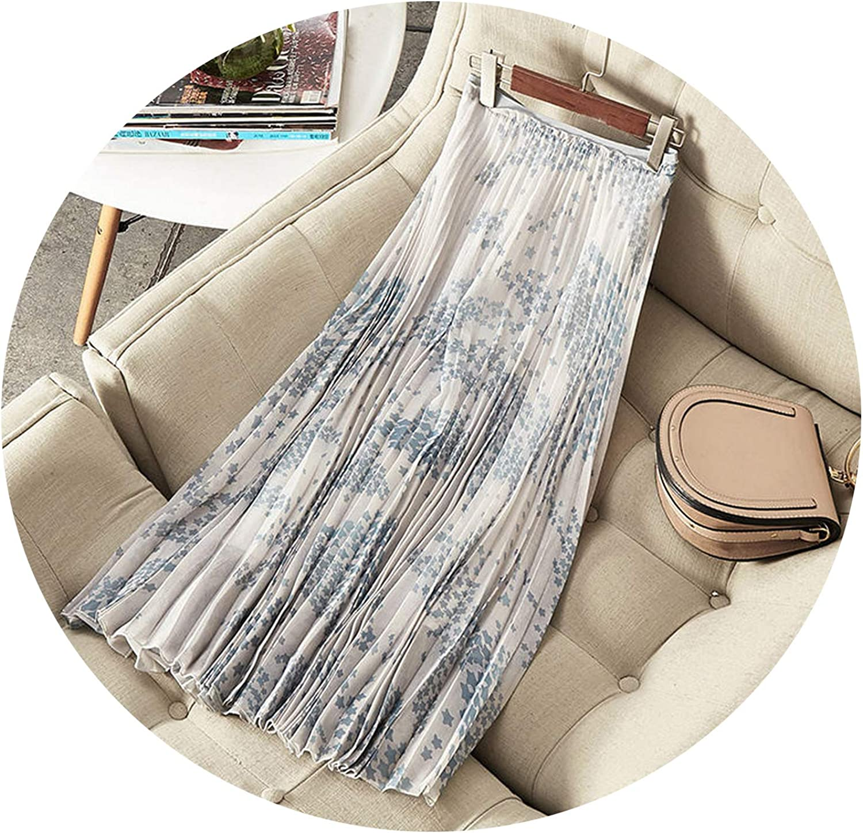 Cyan lemon Summer Mesh Long Skirts Women's Embroidery Runway Skirts Maxi Skirt Elastic Midi Skirt