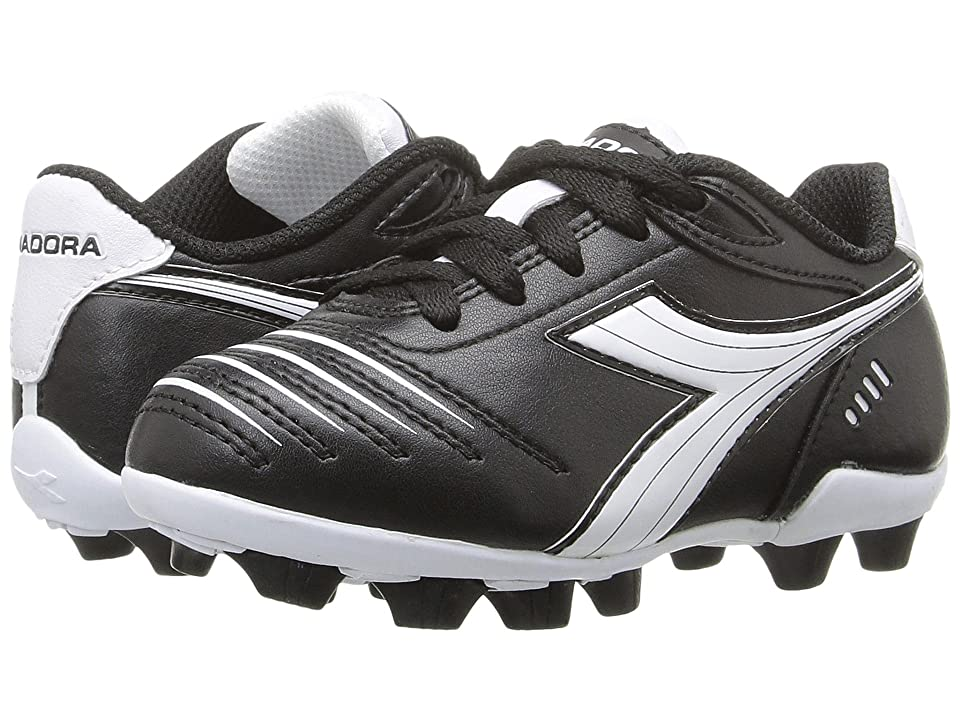 Diadora Kids Cattura MD JR Soccer (Toddler/Little Kid/Big Kid) (Black/White) Kids Shoes