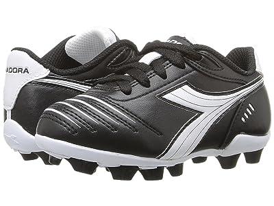 Diadora Kids Cattura MD JR Soccer (Toddler/Little Kid/Big Kid) (Black/White) Kids Shoes