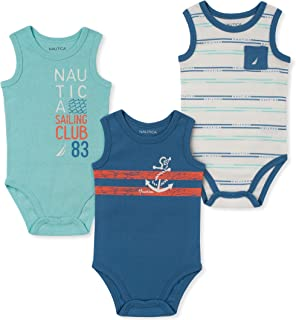 Nautica Sets (KHQ) Baby-Boys 3 Pieces Pack Bodysuits Rompers - Multi