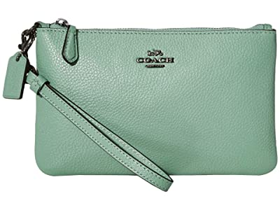 COACH Polished Pebble Small Wristlet (V5/Washed Green) Wristlet Handbags