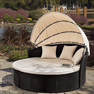 Devoko Round Daybed with Retractable Canopy & Washable Cushions, Wicker Rattan Furniture Sets, All-Weather Separated Seating Sofa for Outdoor Patio Lawn Garden Backyard Porch Pool (Beige)
