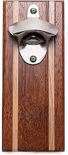 Bruntmor, CAPMAGS Strong Magnetic w/Zinc Alloy Beer Opener & Magnetic Cap Catcher - Merbau Wood