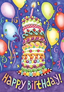 Toland Home Garden Happy Birthday 28 x 40 Inch Decorative Colorful Cake Party Balloon House Flag