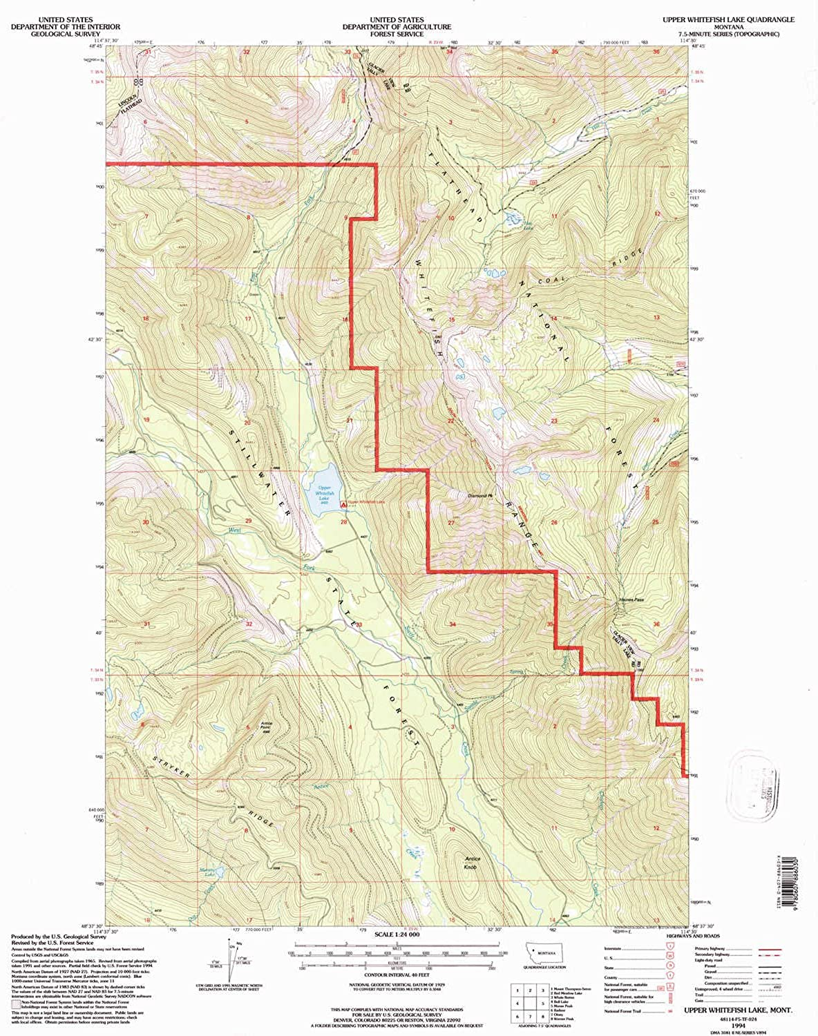Upper Whitefish Lake MT topo map, 1 24000 Scale, 7.5 X 7.5 Minute, Historical, 1994, Updated 1997, 27.1 x 22.2 in