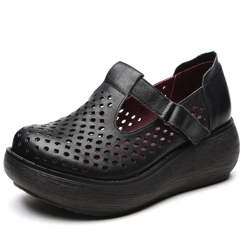 [Maysky] ベルト ストラップ マジックテープ 本革 パンチング ウォーキング コンフォート カジュアル パンプス おしゃれ 幅広 4e 美脚 軽量 厚底 ウェッジソール 歩きやすい レディース 婦人靴