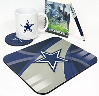 Dallas Cowboys Computer Workstation 5 Pieces Set. Includes Jumbo 15 oz Coffee Mug, Compact Neoprene Mouse pad, Coaster, Spatial Journal pad and Pen,
