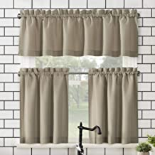 """No. 918 Martine Microfiber Semi-Sheer Rod Pocket Kitchen Curtain Valance and Tiers Set, 54"""" x 24"""" 3-Piece, Taupe"""
