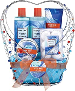 Bath and Body Gift Basket For Women & Men – Ocean Wave Home Spa Set, Includes Fragrant Lotions, Bath Bombs and More - 11 Piece Set Packaged in Jeweled Heart Shaped Candy Holder