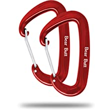 Bear Butt Aluminum Wire Gate Carabiner - Small Heavy Duty 7 Ounce Carabiners - Holds 2200 Pounds - for Hammocks, Camping, Hiking, Utility & Keychain with Assorted Colors.