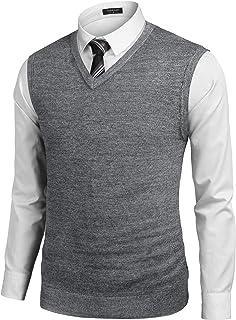 Men's Sleeveless Sweater Vest Lightweight V-Neck Solid Cotton Vest Pullover