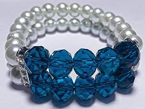 Women Bracelet - Pearl & Crystal - White & Blue - Handmade