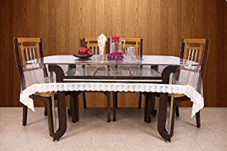 Kuber Industries Dining Table Cover Transparent 6 Seater 60*90 Inches (White Lace)