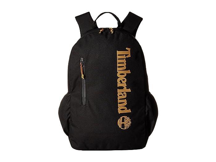 Timberland Linear Logo 28L Backpack (Black/Wheat Logo) Backpack Bags