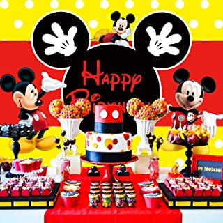 Mickey Mouse Backdrop | 1st Birthday | Party Supplies | for Girl | Boy | Photography Banner Decorations
