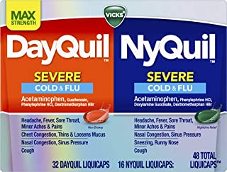 Vicks DayQuil and NyQuil SEVERE, Cough, Cold and Flu Relief, Sore Throat, Fever, and Congestion Relief, Day and Night Reli...