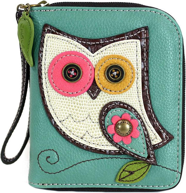 Weekly update Chala Teal Hoo Owl Zip-Around Collectors Wristlet Direct sale of manufacturer Wallet