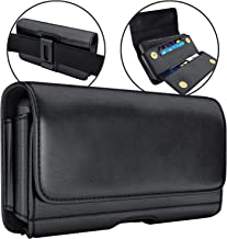 De-Bin iPhone 11, 11 Pro Max, iPhone Xs Max, XR, 7 Plus 8 Plus 6s Plus Holster, Leather Belt Case with Clip Cell Phone Pouch Belt Holder for iPhone 11/11 Pro Max (Fits Phone w/Otterbox Case on)