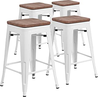 Taylor + Logan 24 Inch High Backless Metal Counter Height Stool with Square Wood Seat, Set of 4, White