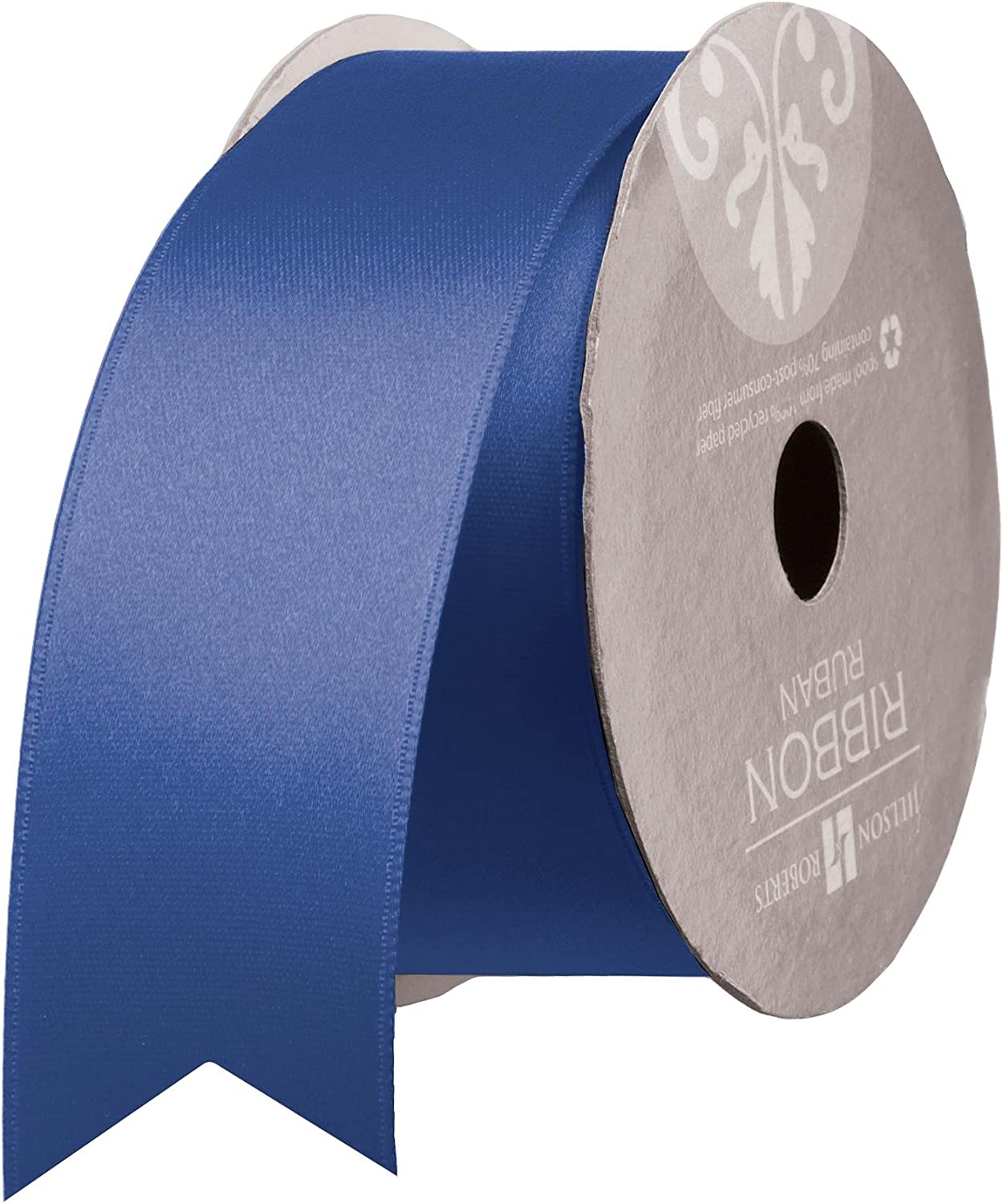 Jillson Roberts Bulk Spool 1.5  x 50 Yards DoubleFaced Satin Ribbon Available in 7 colors, Royal bluee
