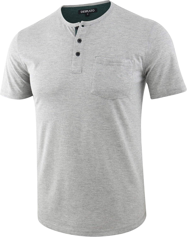 DESPLATO Mens Casual Short Sleeve Sports Active Athletic Pocket Henley T Shirts