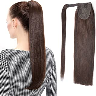 "22"" Human Hair Ponytail Wrap Around Clip in Ponytail Hair Extensions for Women Dark Brown(#2) 100g/3.5oz"