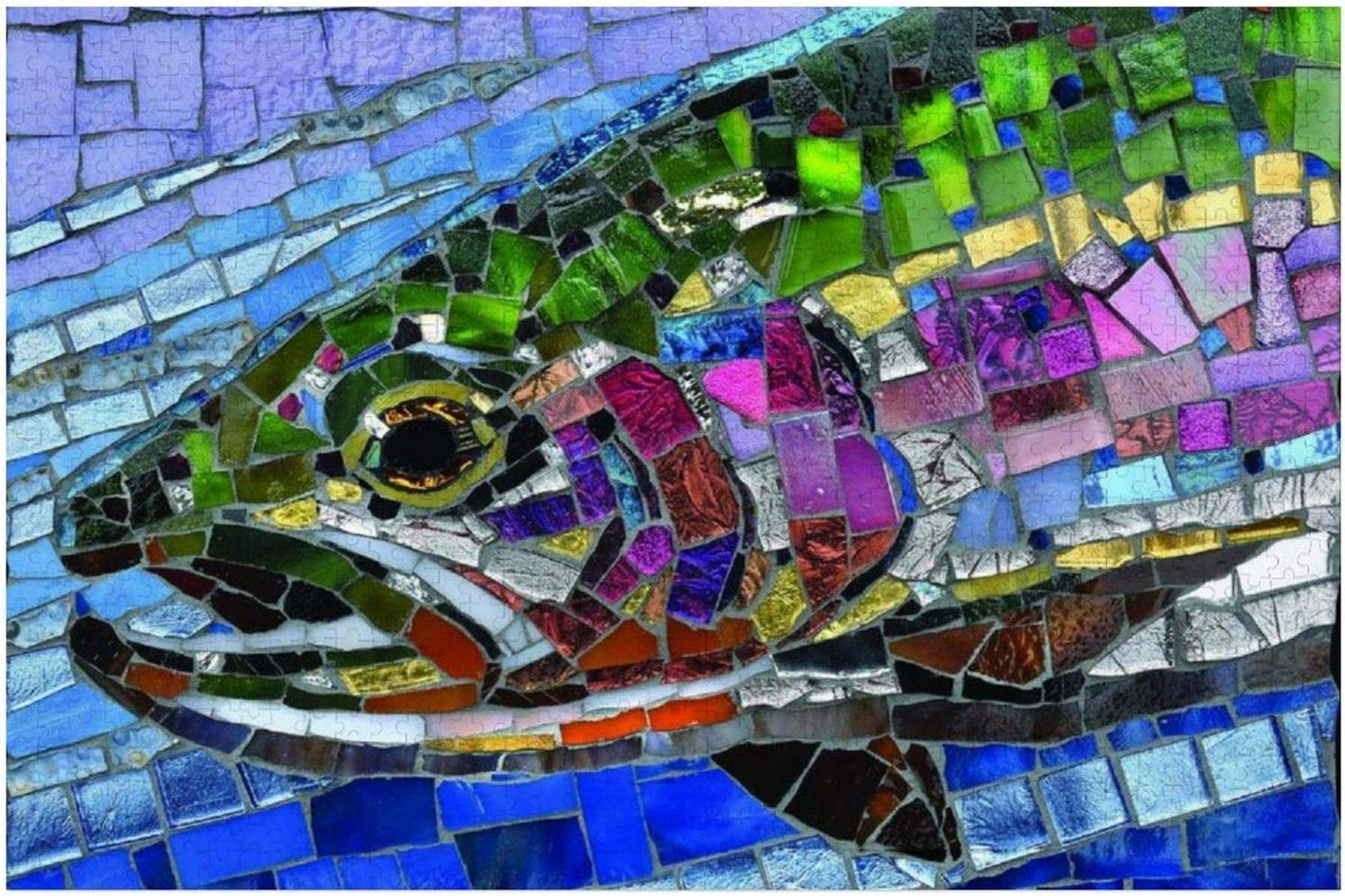 1000 Piece Wooden Jigsaw Puzzle Glass Larg Bargain Rainbow Stained Trout Austin Mall