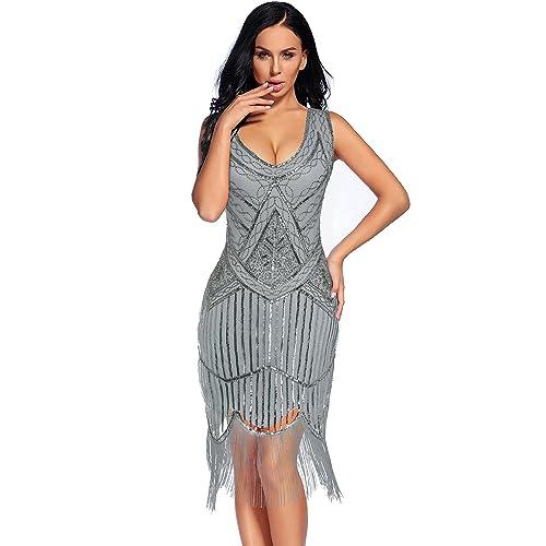 43a4ef4f6a Flapper Girl Women s Vintage 1920s Sequin Beaded Tassels Hem Flapper Dress