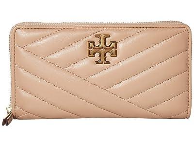 Tory Burch Kira Chevron Zip Continental Wallet (Devon Sand) Handbags