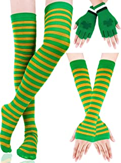 Boao Striped Arm Warmers Long Stretched Stockings Shamrock Fingerless Gloves St. Patrick's Day Party Accessory for Women G...