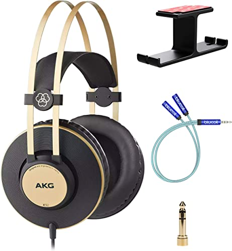 lowest AKG K92 Closed-Back Monitor Headphones for Critical Listening, Studio Monitoring and Mixing Bundle with Blucoil Aluminum Dual Suspension outlet sale outlet online sale Headphone Hanger, and Y Splitter for Audio and Mic online sale
