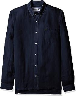Lacoste メンズ 長袖 無地 リネン ボタンダウンカラー レギュラーフィット 織シャツ CH4990
