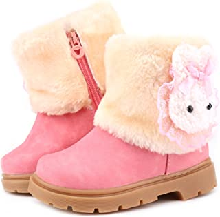 Femizee Toddler Snow Boots for Boys Girls Winter Outdoor Waterproof Fur Lined Kids Booties