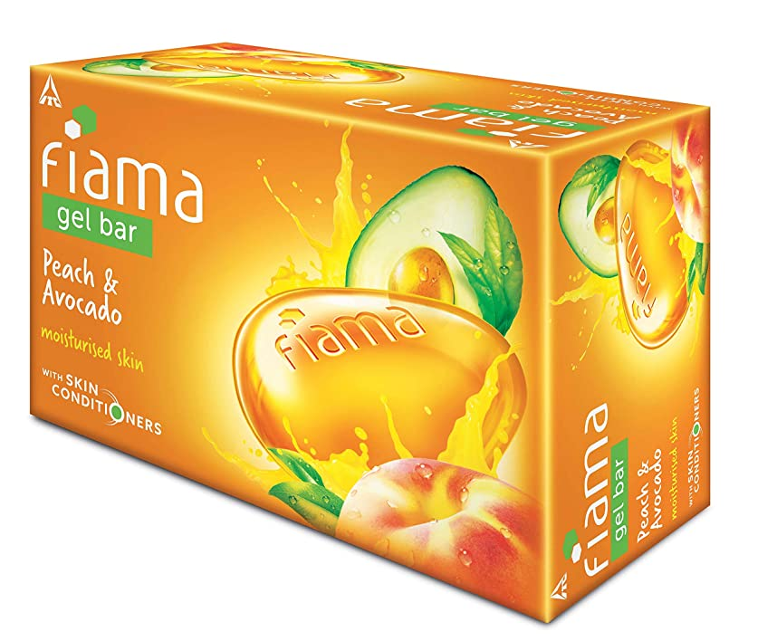 振りかける気怠い日食Fiama Gel Bathing Bar, Peach and Avocado, (3 * 125g)