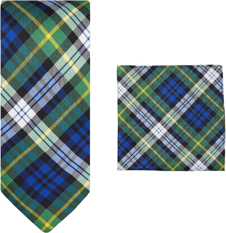 Jacob Alexander Royal Tartans Plaid Men's Extra Long Neck Tie and Pocket Square Set