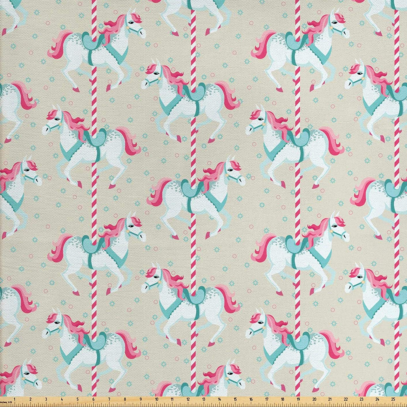 Ambesonne Toy Horse Fabric by The Yard, Merry Go Round Amusement Park Carousel Toy Ride Roundabout Children Park, Decorative Fabric for Upholstery and Home Accents, 1 Yard, Beige Seafoam Pink