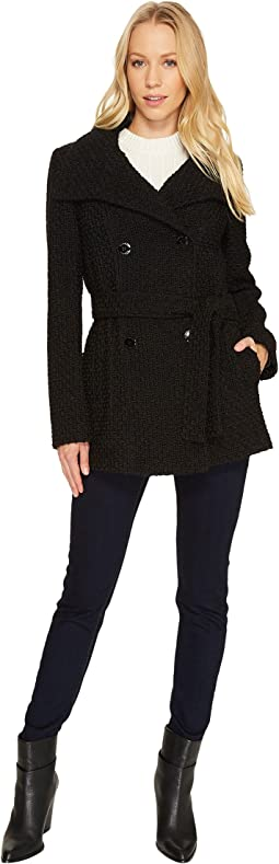 Calvin Klein - Double Breasted Belted Basket Weave City Tweed Coat CW380102