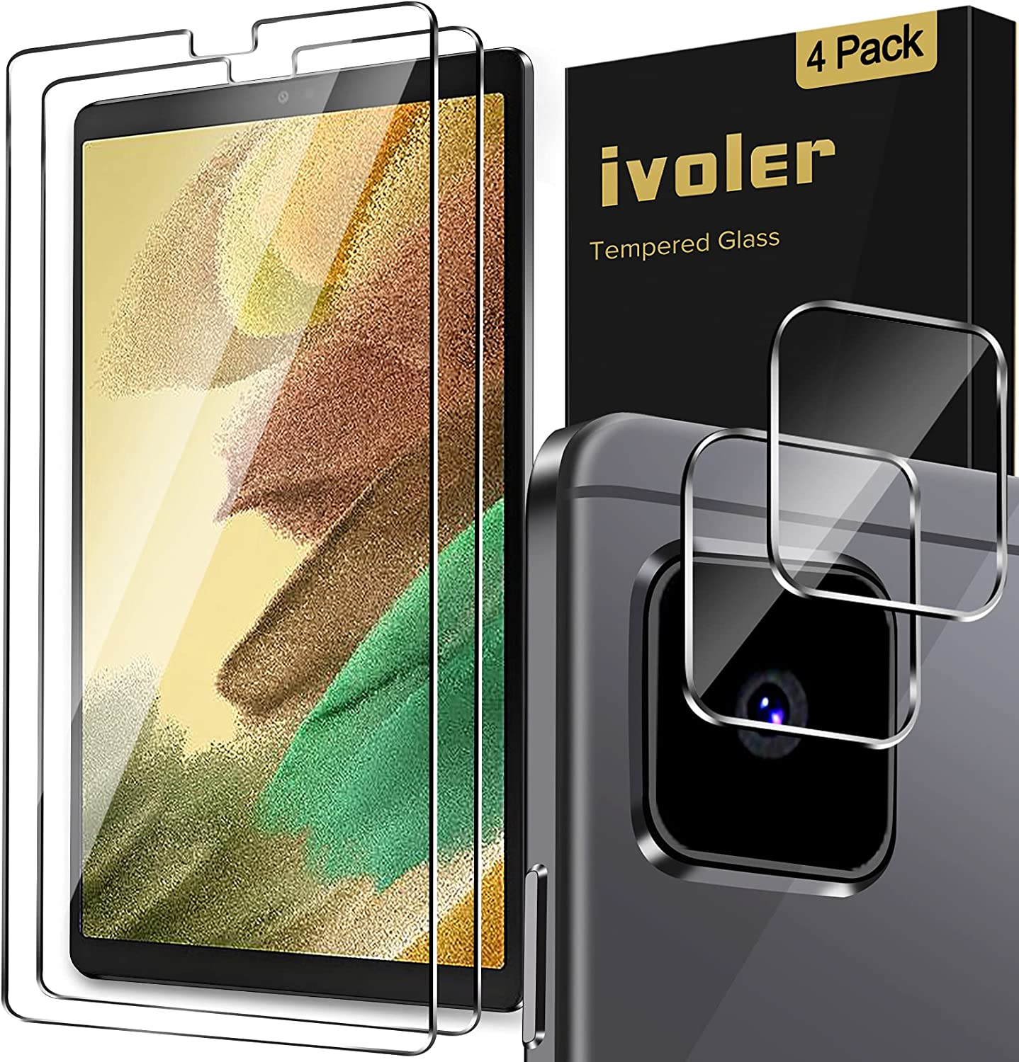 [4 Pack] iVoler (2 Pack) Screen Protector for Samsung Galaxy Tab A7 Lite 8.7inch (SM-T220 / T225) 2021 with 2 Pack Camera Lens Protector Tempered Glass, Scratch Resistant Anti-Fingerprints HD Clear