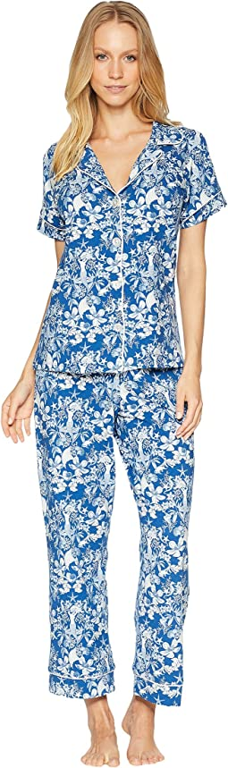 Blue Mermaid Short Sleeve Cropped Pajamas