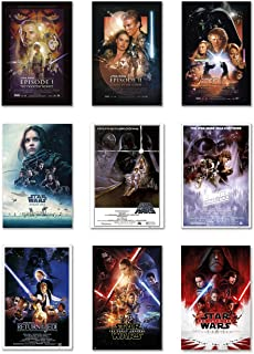 Star Wars: Episode I, II, III, IV, V, VI, VII, VIII & Rogue One - Movie Poster Set (9 Individual Full Size Movie Posters) (Size: 24 inches x 36 inches Each)