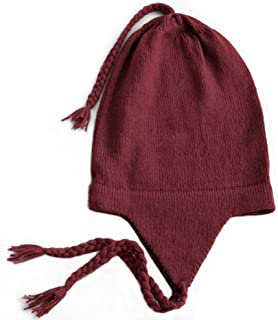 100% Alpaca Wool Knit Beanie Cap with Ear Flaps, Chullo Hat Women Men, One Size