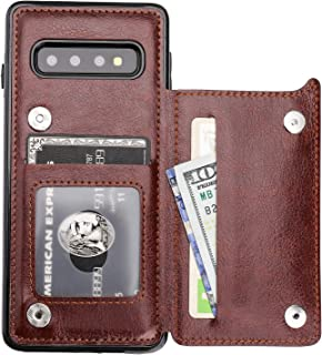 S10 Case Wallet with Card Holder, Vaburs Premium PU Leather Double Magnetic Buttons Flip Shockproof Protective Case Cover for Samsung Galaxy S10(Brown)